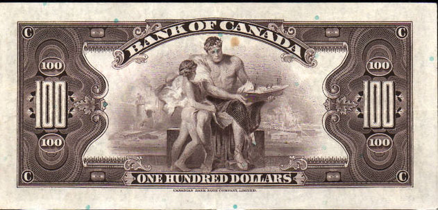 Банкнота 1935 банк канады 100