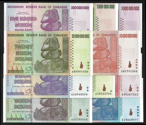 Bank Note Zimbabwe 100 Trillion 500 Million Dollars 2008 P 82 91 Unc Lot 10 Notes